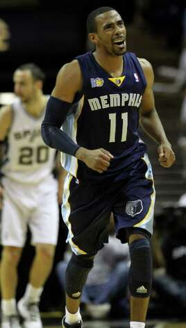 Memphis Grizzlies guard Mike Conley (11) reacts against the San Antonio Spurs in Game 5 of the first round of the Western Conference playoff at the AT&T Center on Wednesday, April 27, 2011. Kin Man Hui/kmhui@express-news.net Photo: KIN MAN HUI, Kin Man Hui/kmhui@express-news.net / San Antonio Express-News NFS