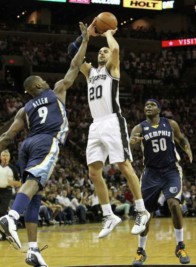 San Antonio Spurs guard Manu Ginobili (20) shoots over  Memphis Grizzlies guard Tony Allen (9) near  Memphis Grizzlies forward Zach Randolph (50) in Game 5 of the first round of the Western Conference playoff at the AT&T Center on Wednesday, April 27, 2011. Kin Man Hui/kmhui@express-news.net Photo: KIN MAN HUI, Kin Man Hui/kmhui@express-news.net / San Antonio Express-News NFS