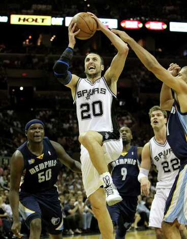 San Antonio Spurs guard Manu Ginobili (20) drives to the basket near  Memphis Grizzlies forward Zach Randolph (50) and  Memphis Grizzlies forward Shane Battier, right, in Game 5 of the first round of the Western Conference playoff at the AT&T Center on Wednesday, April 27, 2011. Kin Man Hui/kmhui@express-news.net Photo: KIN MAN HUI, Kin Man Hui/kmhui@express-news.net / San Antonio Express-News NFS
