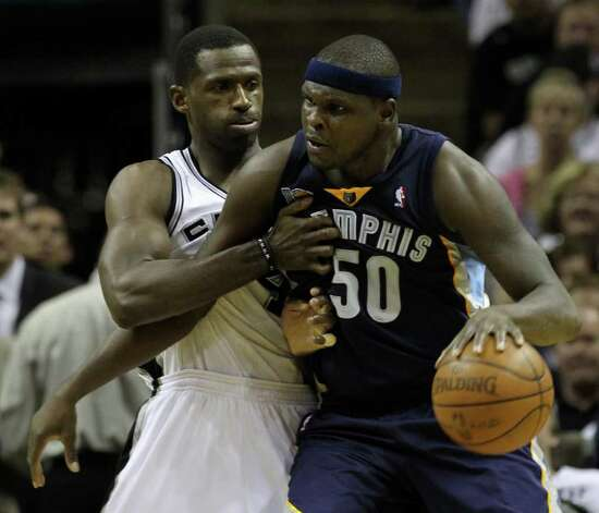 San Antonio Spurs forward Antonio McDyess (34) pressures  Memphis Grizzlies forward Zach Randolph (50) in Game 5 of the first round of the Western Conference playoff at the AT&T Center on Wednesday, April 27, 2011. Kin Man Hui/kmhui@express-news.net Photo: KIN MAN HUI, Kin Man Hui/kmhui@express-news.net / San Antonio Express-News NFS