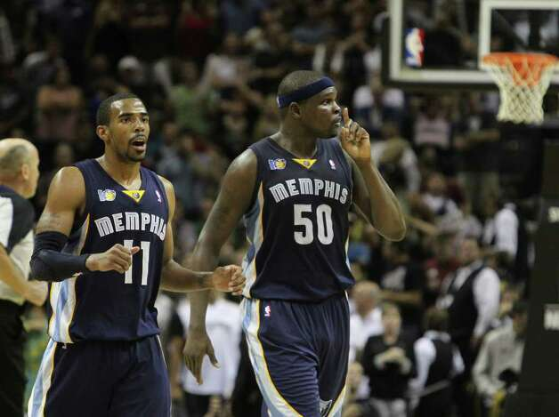 Memphis Grizzlies forward Zach Randolph (50) reacts near  Memphis Grizzlies guard Mike Conley (11) after Randolph hit a late jumper in Game 5 of the first round of the Western Conference playoff at the AT&T Center on Wednesday, April 27, 2011. Kin Man Hui/kmhui@express-news.net Photo: KIN MAN HUI, Kin Man Hui/kmhui@express-news.net / San Antonio Express-News NFS
