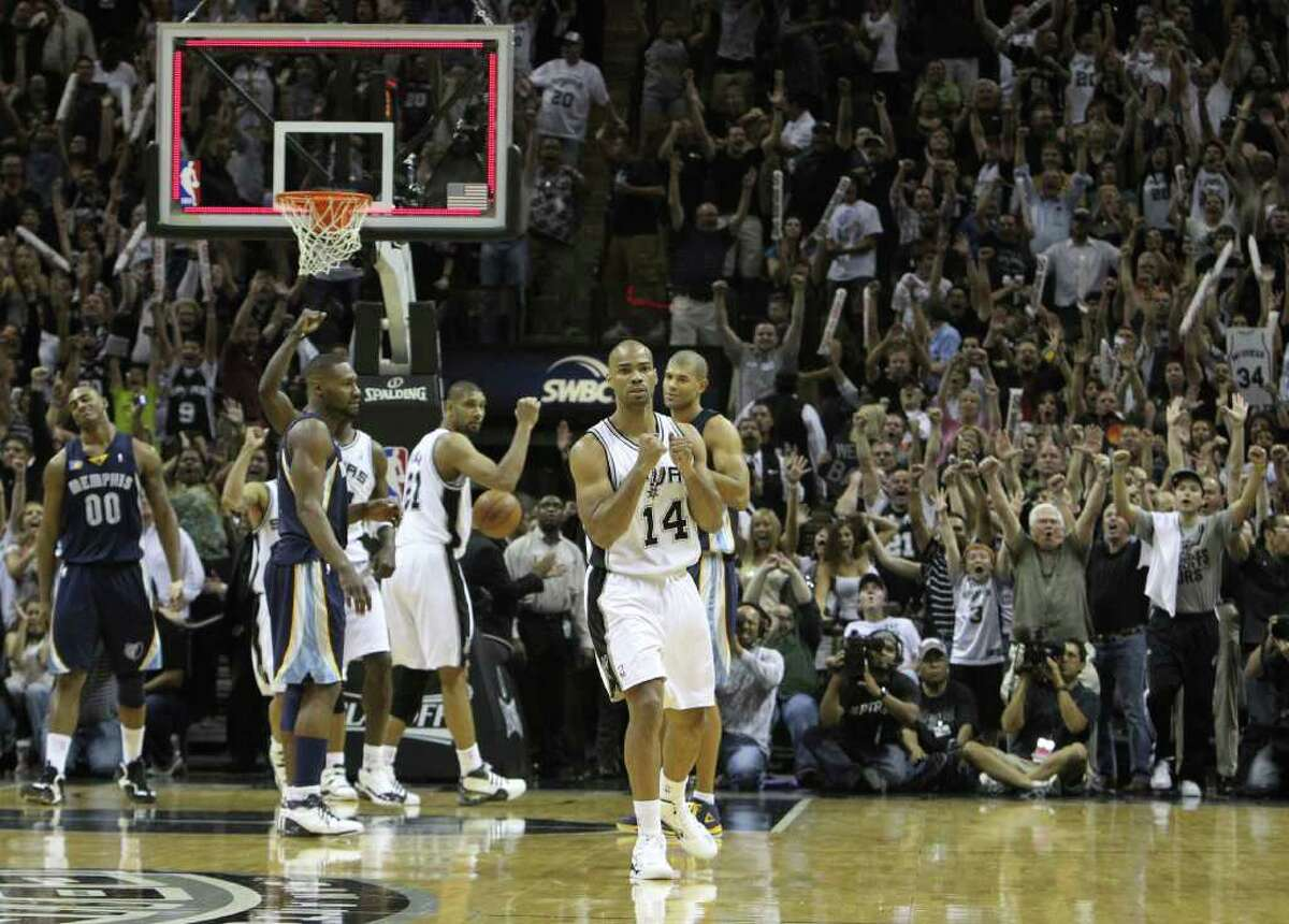 San Antonio Spurs guard Gary Neal (14) reacts after hitting a game tying shot against the Memphis Grizzlies in Game 5 of the first round of the Western Conference playoff at the AT&T Center on Wednesday, April 27, 2011. Kin Man Hui/kmhui@express-news.net