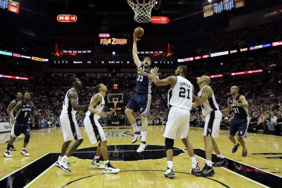 SPURS --  Memphis Grizzlies center Marc Gasol (33) shoots against the San Antonio Spurs during the first half of game five of the Western Conference First Round at AT&T Center, Wednesday, April 27, 2011. JERRY LARA/glara@express-news.net Photo: JERRY LARA, JERRY LARA/glara@express-news.net / SAN ANTONIO EXPRESS-NEWS (NFS)