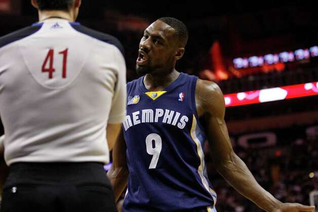 SPURS --  Memphis Grizzlies guard Tony Allen (9) has a word with official Ken Mauer during the first half of game five of the Western Conference First Round at AT&T Center, Wednesday, April 27, 2011. JERRY LARA/glara@express-news.net Photo: JERRY LARA, JERRY LARA/glara@express-news.net / SAN ANTONIO EXPRESS-NEWS (NFS)