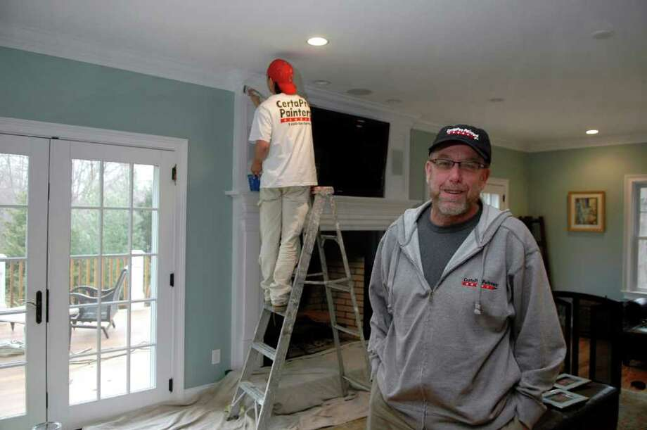Steve Goetz, owner of CertaPro Painters of Fairfield, at a work site in Westport, Conn on Thursday, March 31, 2011. Photo: Cathy Zuraw / Connecticut Post