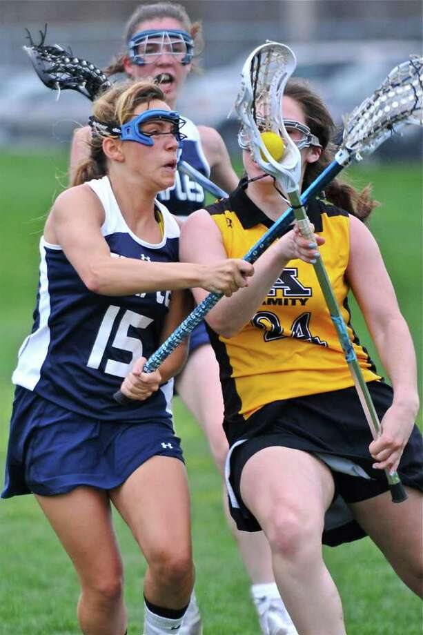 Staples junior Ali Crofts had four goals and an assist Wednesday in a 20-9 victory at Amity. Photo: Contributed Photo / John Seo