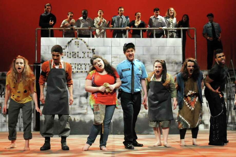 "The Danbury High School cast of ""Urinetown"", a play about the abuse of power, corruption and oppression, during a rehearsal on Wednesday, April 27, 2011. Photo: Jay Weir / The News-Times Freelance"