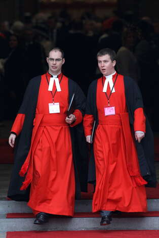 LONDON, ENGLAND - APRIL 29: A general view of priests prior to the Royal Wedding of Prince William to Catherine Middleton at Westminster Abbey on April 29, 2011 in London, England. The marriage of the second in line to the British throne is to be led by the Archbishop of Canterbury and will be attended by 1900 guests, including foreign Royal family members and heads of state. Thousands of well-wishers from around the world have also flocked to London to witness the spectacle and pageantry of the Royal Wedding. (Photo by Chris Jackson/Getty Images)