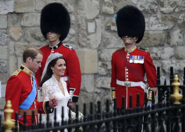 Britain's Prince William and his wife Kate, Duchess of Cambridge, leave Westminster Abbey in London, after their wedding ceremony, on April 29, 2011. (ODD ANDERSEN/AFP/Getty Images)