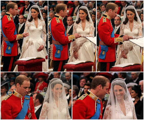 Combo picture shows Britain's Prince William putting the ring on Kate, Duchess of Cambridge finger during their wedding ceremony at Westminster Abbey in London on April 29, 2011. (AFP/Getty Images)