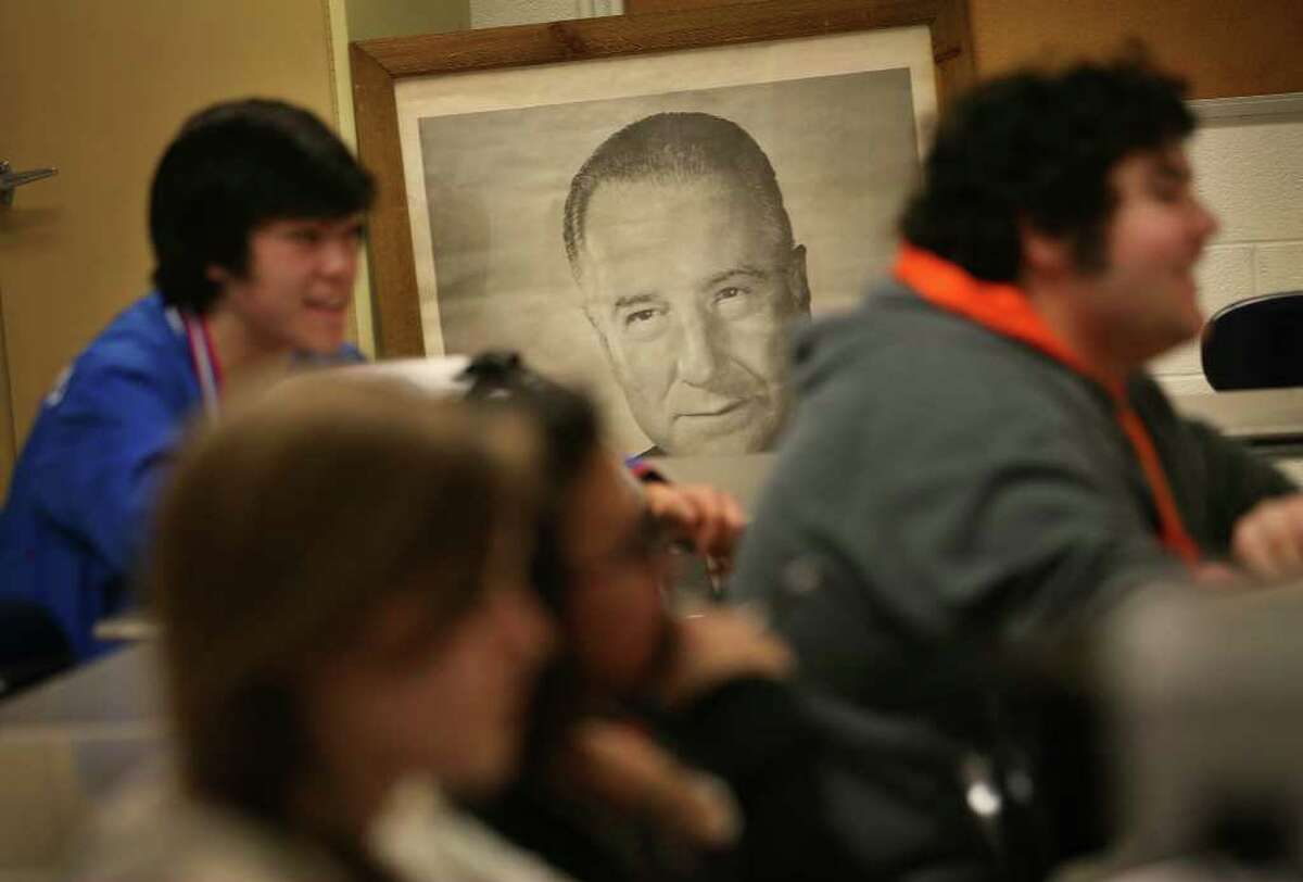 A giant poster of former Vice President Spiro Agnew looks out over students in John Dasher's AP History class at Fairfield Warde High School on Tuesday, March 29, 2011.
