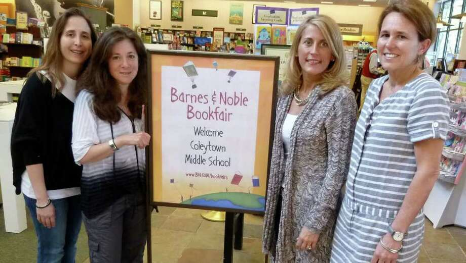 Coleytown Middle School Book Fair Co-chairwomen Corri Neckritz and Robyn Levy, at left, with Coleytown parents Jami Patterson and Mary Foster, at the book fair sponsored at the Barnes & Noble store in Westport. Photo: Contributed Photo/Mike Lauterborn / Westport News contributed
