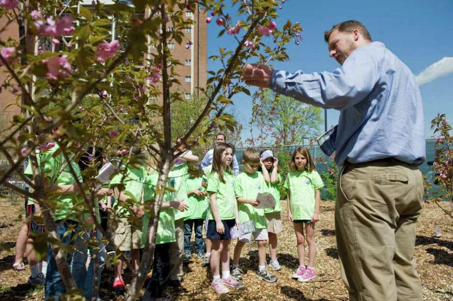 Adam Cervin, from The Care of Trees and a member of the Stamford Tree Foundation, conducts an educational dissertation to a group of students from Rogers International School during the Arbor Day celebration near the newly planted cherry trees along the Mill River in Stamford, Conn. on Friday April 29, 2011. Photo: Kathleen O'Rourke / Stamford Advocate