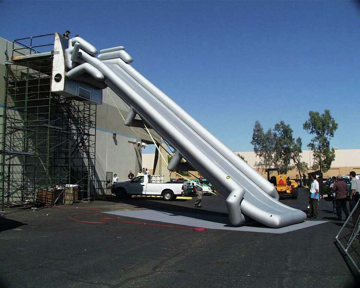 An Airbus A380 evacuation slide is shown being tested at Goodrich Corporation's Phoenix, Ariz., facility in July 2001. The French-developed plane will require the world's largest evacuation slide, a 55-foot inflatable device. It will take 18 to handle the plane's 550-seat, double-deck capacity, Goodrich said Thursday, July 19, 2001, in announcing the contract.