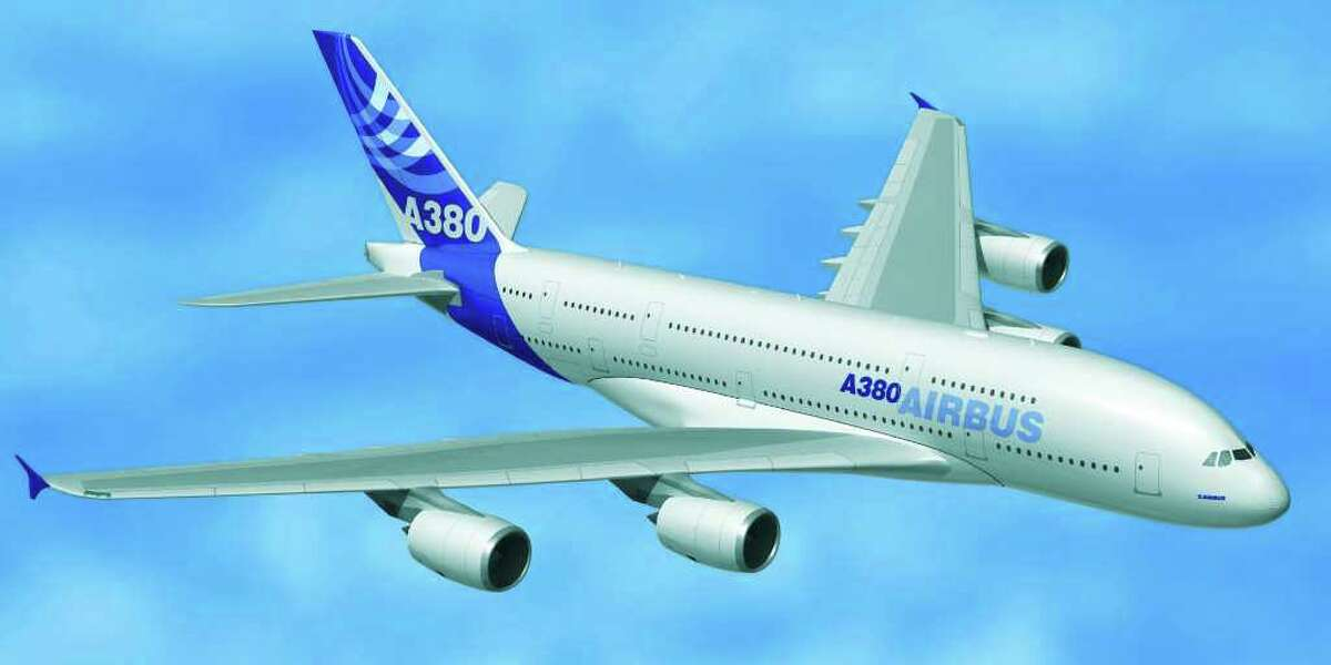 This computer image released by Airbus Tuesday Jan. 18, 2005 shows the future A380 superjumbo bearing the new Airbus colors. Four European head of states unveiled the double-deck plane, the world's largest passenger plane, near Toulouse, southwestern France.