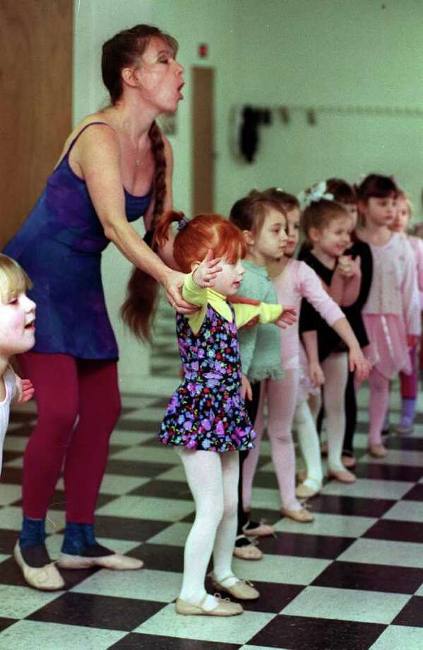 """Bonnie McLean, working with Dierdre McLean (no relation) , in a dance class at """"Dancin' Feet"""" in New Milford in this file photo. Photo: Carol Kaliff/ File, Carol Kaliff / The News-Times"""