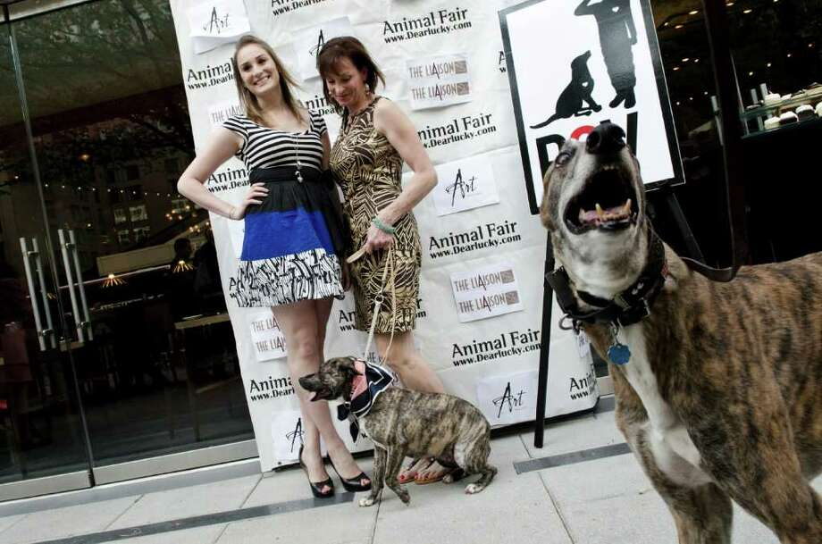 Guests pose for a photo with their dogs during the 2nd Annual White House Pet Correspondents benefit at Art and Soul's Pooch Patio on April 28, 2011 in Washington, D.C. Photo: Getty Images