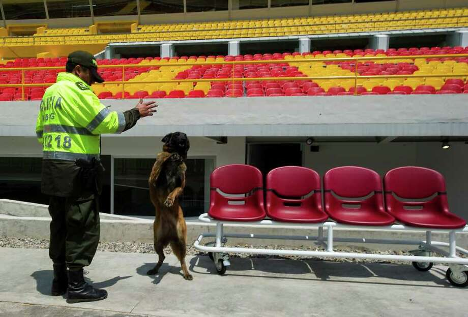A police dog performs at the Campin stadium in Bogota, Colombia, on April 29, 2011, during the visit of the FIFA delegation to check the adequacy of the stadiums that will host the FIFA World Cup U-20 COLOMBIA 2011 between July 29 and August 20. Photo: AFP/Getty Images