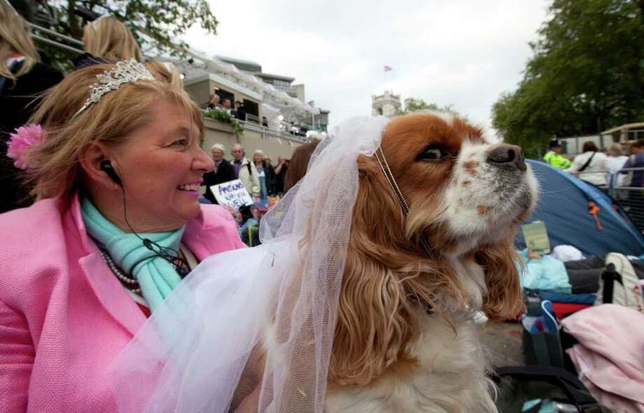 Royal enthusiast Anne Dalev from Cardiff, Wales, and her dog Camilla sit in front of Westminster Abbey in London, Thursday, April 28, 2011.  Photo: Gero Breloer, ASSOCIATED PRESS / AP2011