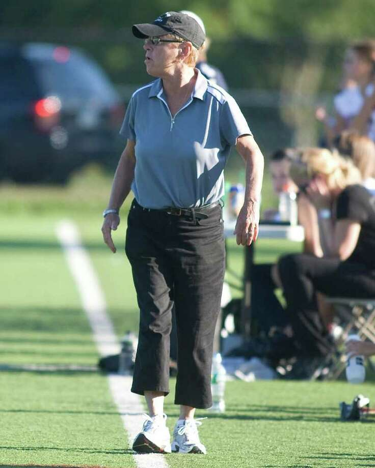 Pomperaug field hockey coach Linda Dirga. Photo: Barry Horn / The News-Times Freelance