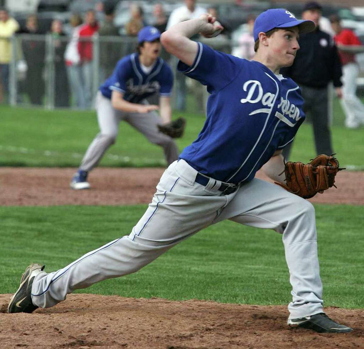 Darien's Chris Smith finished up the game against Greenwich during Friday's game in which the Cardinal's went on to win 6-5.