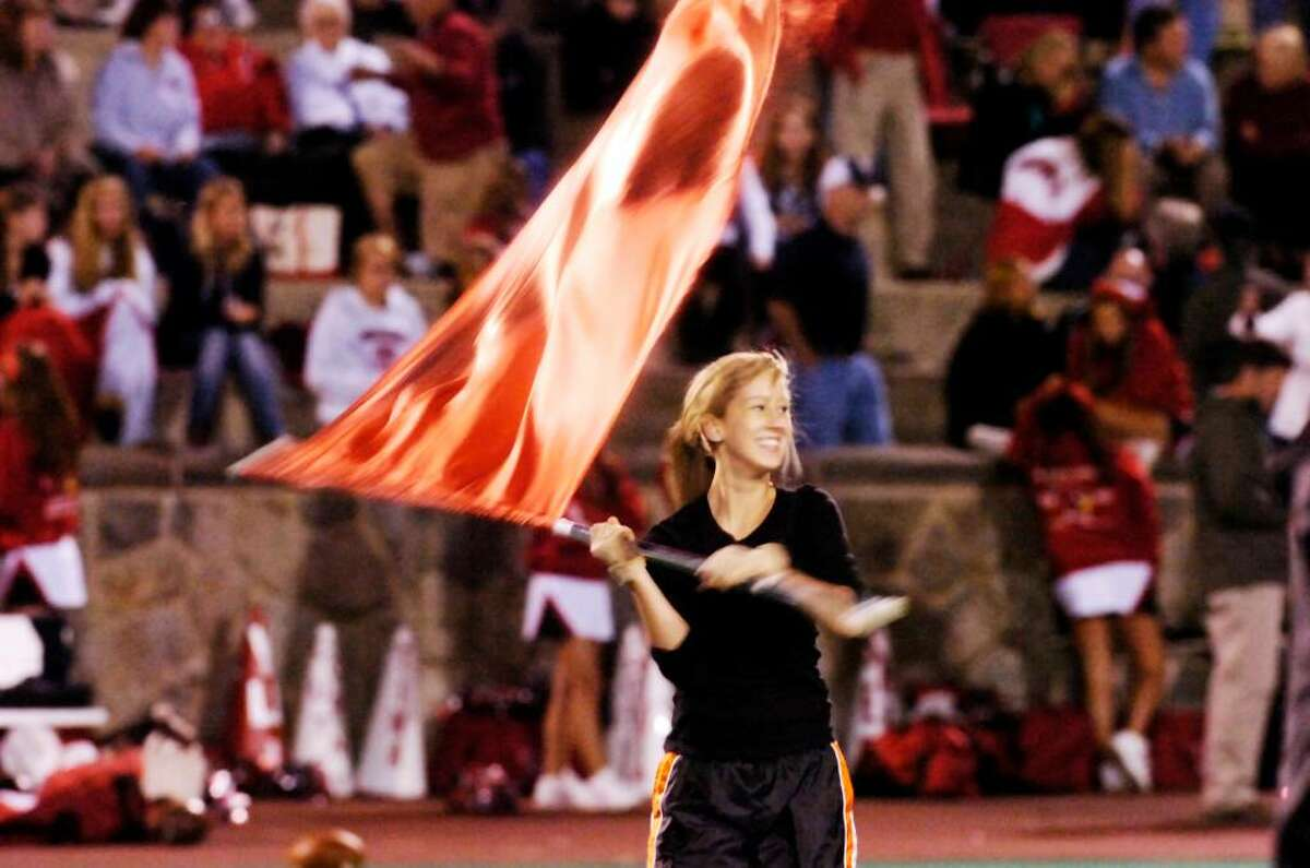 Halftime show as the Stamford Black Knights host the Greenwich Cardinals in a football game. Keelin Daly