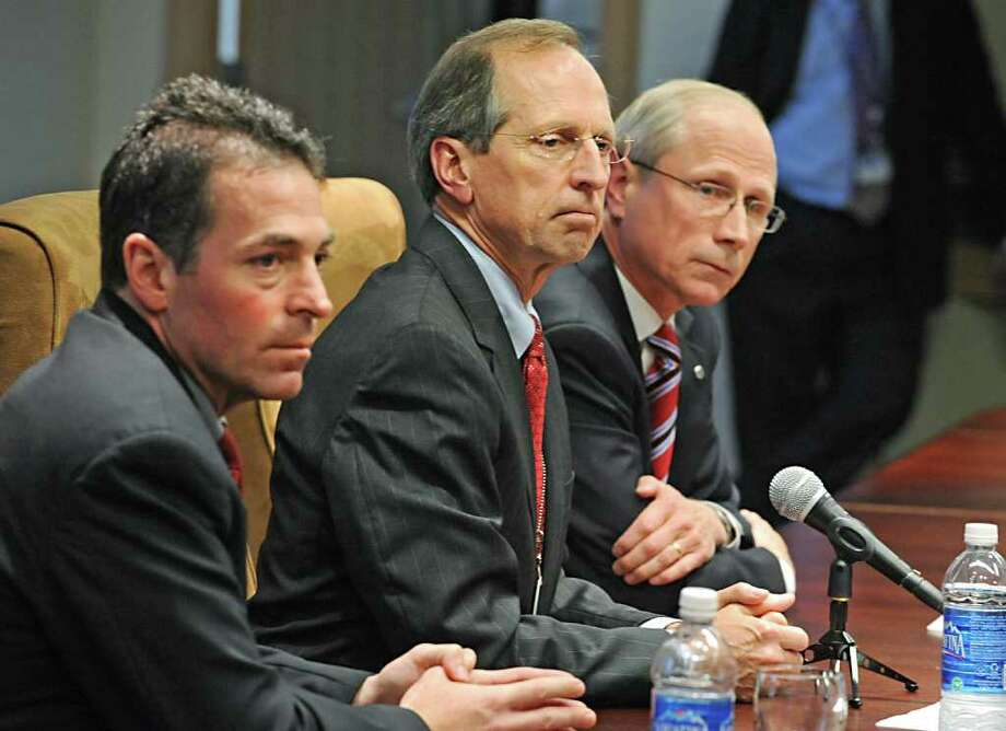 From left, Scott St. George, interim president & CEO of Seton Health; Steven Boyle, president & CEO of St. Peter's Hospital; and Dr. James Reed, president & CEO of Northeast Health, hold a press conference on Friday, April 29, 2011, at St. Peter's Hospital in Albany, N.Y., about the merger of the three health systems.  (Lori Van Buren / Times Union) Photo: Lori Van Buren