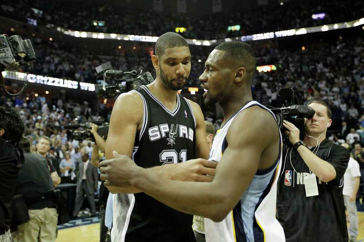 SPURS -- San Antonio Spurs Tim Duncan congratulates Memphis Grizzlies Tony Allen as they lose 99-91 in game six of the Western Conference First Round at FedExForum, Friday, April 29, 2011. JERRY LARA/glara@express-news.net