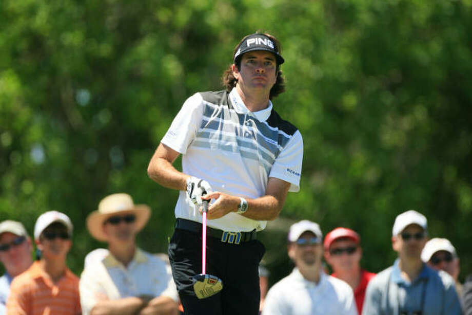 Bubba Watson watches his tee shot on the eighth hole during the second round of the Zurich Classic. Photo: Hunter Martin, Getty Images