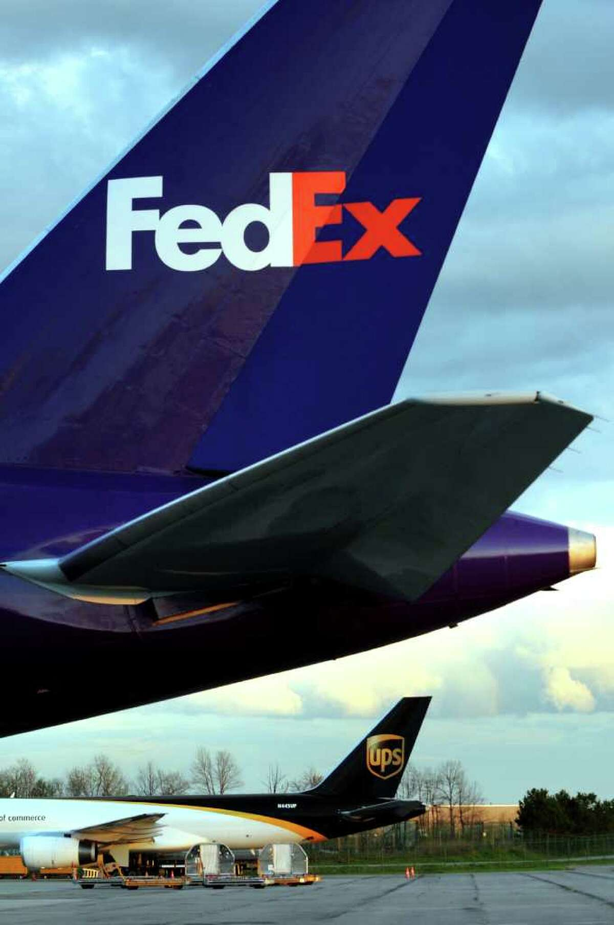 FedEx and UPS cargo planes at the Air Cargo Facility on Thursday, April 28, 2011, at the Albany International Airport in Colonie, N.Y. (Cindy Schultz / Times Union)
