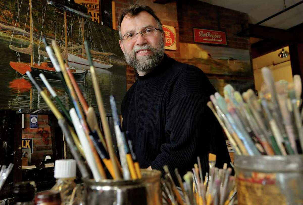 Artist and Illustrator Dahl Taylor in his work space on Friday, April 22, 2011, at 915 Studios in Albany, N.Y. (Cindy Schultz / Times Union)