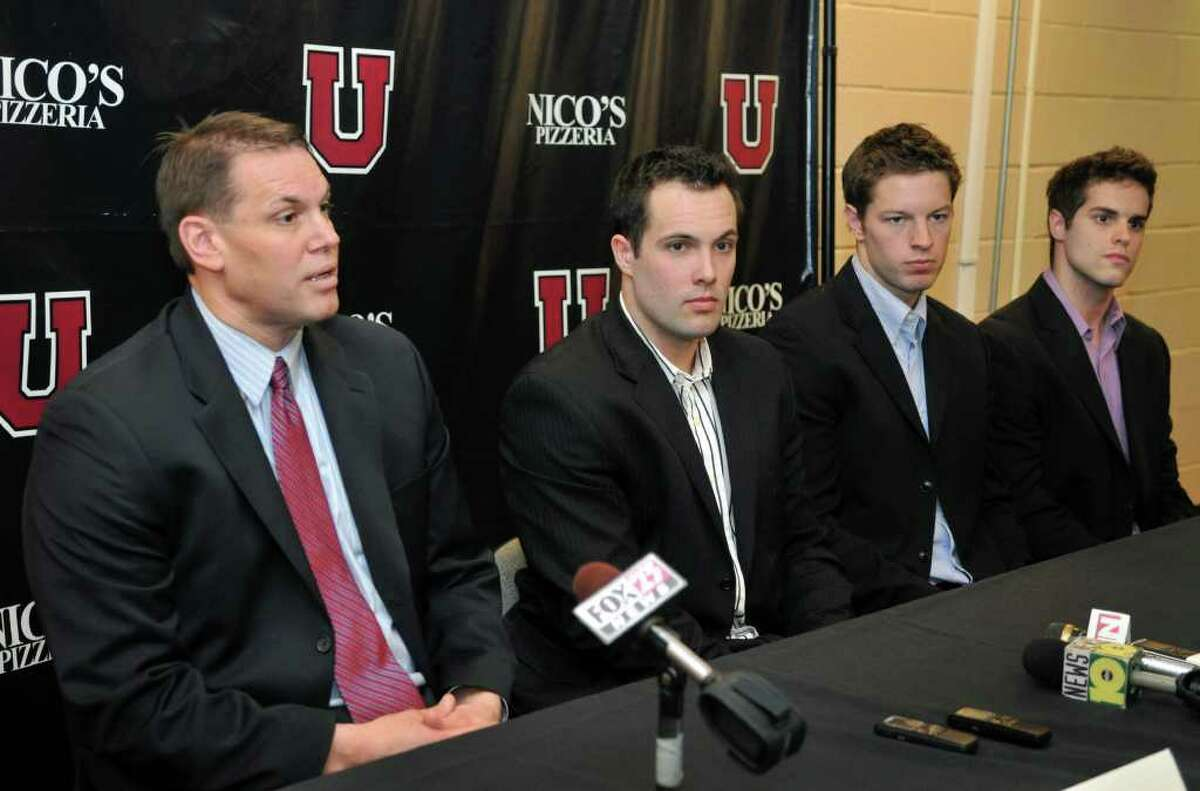 From left, Union College hockey's new head coach Rick Bennett, and players Nolan Julseth-White, Jeremy Welsh and Kell Zajac during a news conference at Union College in Schenectady Friday afternoon April 22, 2011. (John Carl D'Annibale / Times Union)