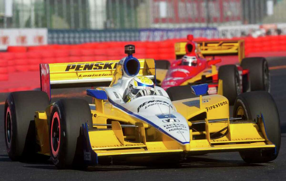IndyCar driver Ryan Briscoe of Australia drives his Penske during a practice session for the IndyCar's Sao Paulo 300 in Sao Paulo, Brazil, Saturday April 30, 2011. Briscoe was the fastest Saturday in the first practice session. (AP Photo/Andre Penner)