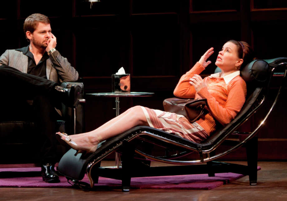 """Trent Dawson (Stuart) and Nicole Lowrance (Prudence) in """"Beyond Therapy"""" at the Westport Country Playhouse, playing through May 14. Photo: Contributed Photo / Westport News contributed"""