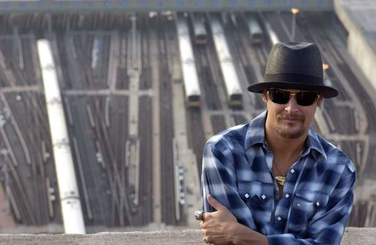 FILE - In this Oct. 5, 2007 file photo, musician Kid Rock is photographed in New York. The Detroit NAACP is giving their Great Expectations Award to Kid Rock for his advocacy of the city, drawing some criticism because the Grammy-nominated artist has used the Confederate flag during stage performances. (AP Photo/Jim Cooper, File)