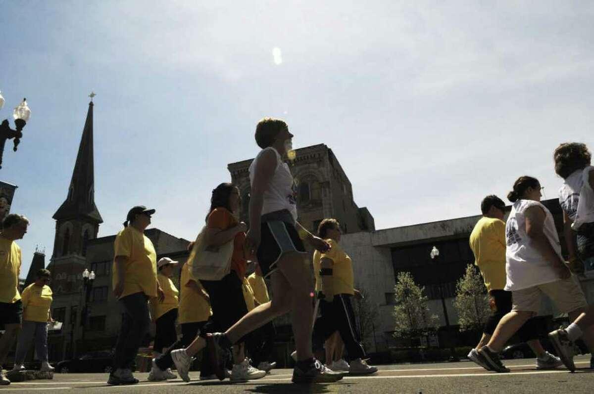 Walkers participate in the Schenectady CROP Walk. (Paul Buckowski / Times Union)