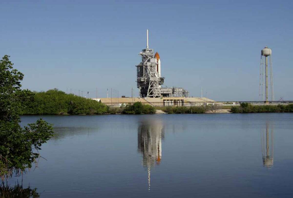 Space shuttle Endeavour is seen at Pad 39A at the Kennedy Space Center in Cape Canaveral, Fla., Saturday, April 30, 2011. Yesterdays' launch attempt was scrubbed due to technical problems.(AP Photo/Chris O'Meara)