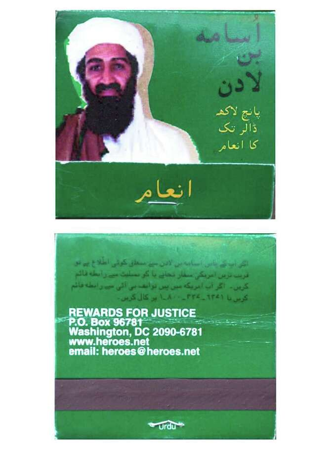 A match box shows the picture of suspected terrorist Osama bin Laden (above) and an address for providing information about him, Feb. 18, 2000.  Match boxes and currency notes offering a reward of five million dollars for information about the suspected terrorist, started appearing in Pakistan. AFP PHOTO/ Saeed KHAN Photo: SAEED KHAN, AFP/Getty Images / AFP