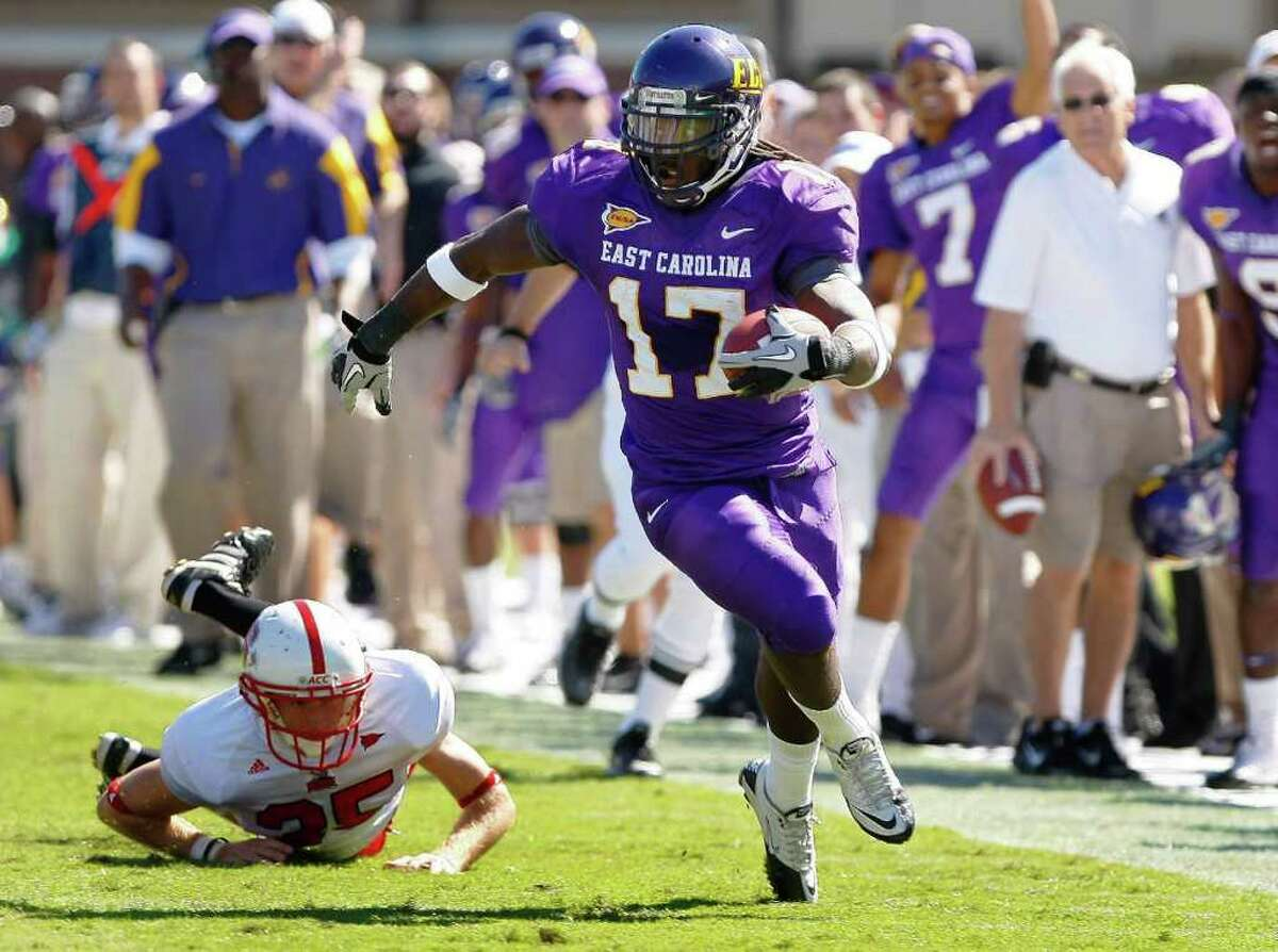 East Carolina receiver Dwayne Harris, picked in the sixth round by the Cowboys, showed plenty of ability to run with the ball after making the catch.