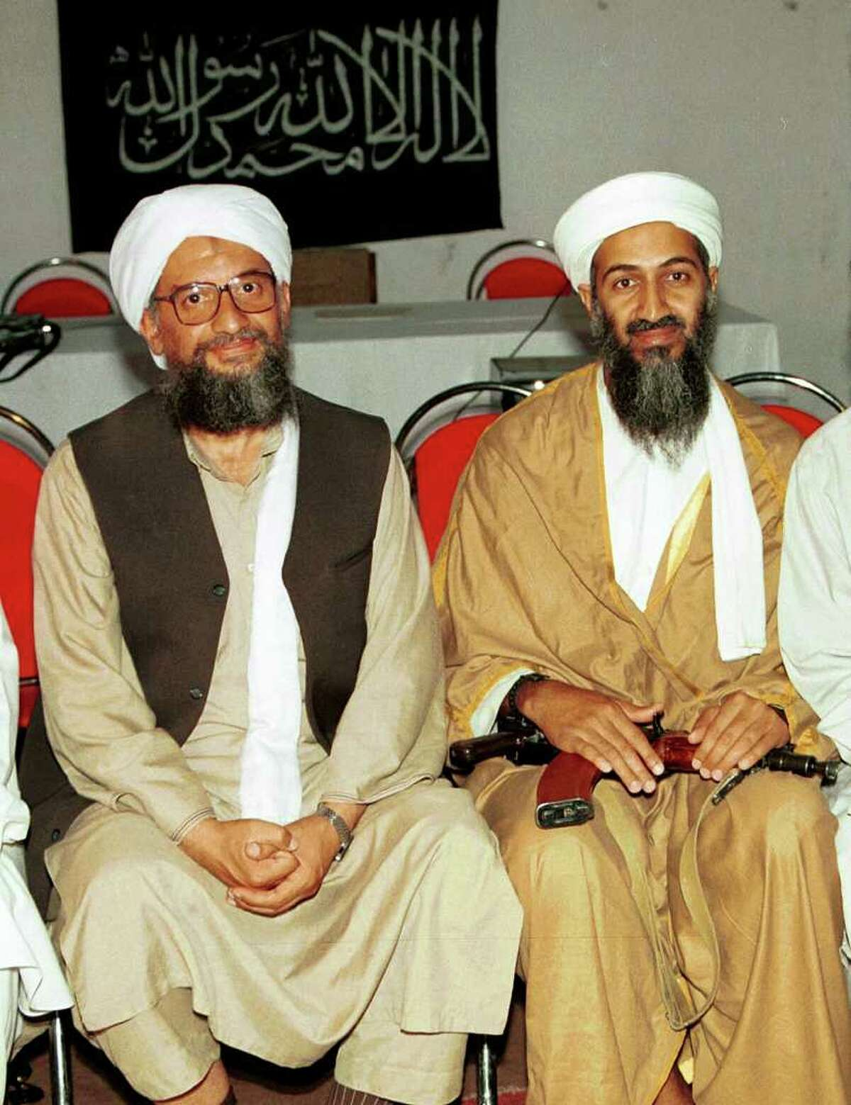 FILE - In this 1998 file photo, Ayman al-Zawahri, left, poses for a photograph with Osama bin Laden, right, taken in Khost, Afghanistan and made available Friday March 19, 2004. A person familiar with developments said Sunday, May 1, 2011 that bin Laden is dead and the U.S. has the body.(AP Photo/Mazhar Ali Khan, File)