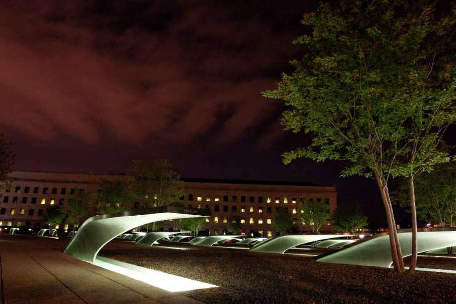 The Pentagon Memorial is seen early Monday, May 2, 2011, at the Pentagon in Washington, after President Barack Obama announced the death of Osama Bin Laden. Photo: AP