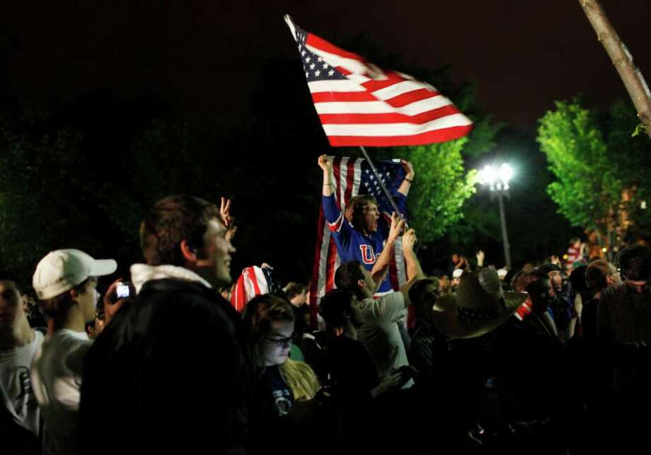 Crowds gathers outside the White House in Washington to celebrate after President Barack Obama announced the death of Osama bin Laden Sunday, May 1, 2011. Photo: AP