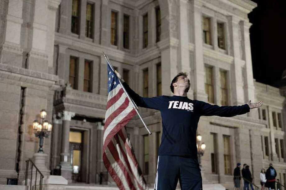 Pat White arrives at the Texas Capitol in Austin, Texas Sunday night, May 1, 2011, to celebrate Osama bin Laden's death. Photo: AP