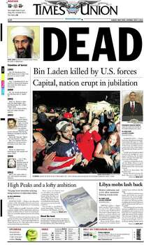 Front pages of U.S. newspapers on May 2, 2011, following the death of Osama Bin Laden. Photo: Compiled By The Newseum