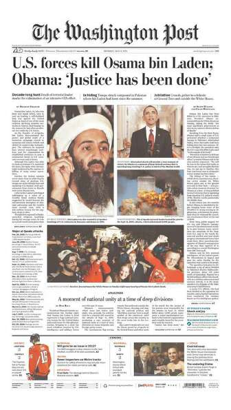 Front pages of U.S. newspapers on May 2, 2011, following the death of Osama Bin Laden.