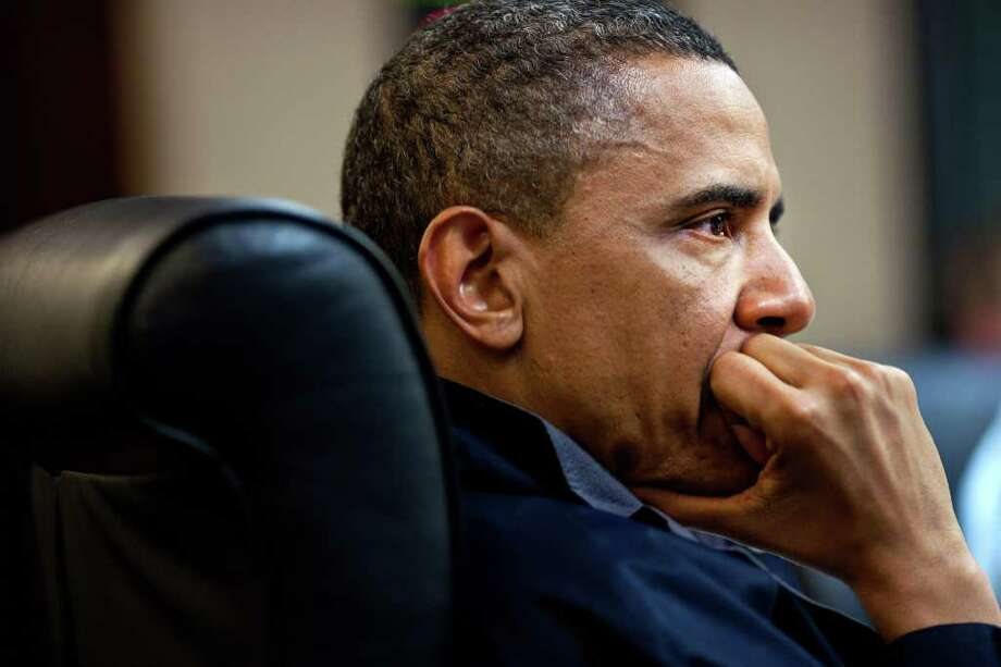 In this image released by the White House, President Barack Obama listens during one in a series of meetings discussing the mission against Osama bin Laden, in the Situation Room of the White House, Sunday, May 1, 2011, in Washington. Photo: Pete Souza, AP / The White House