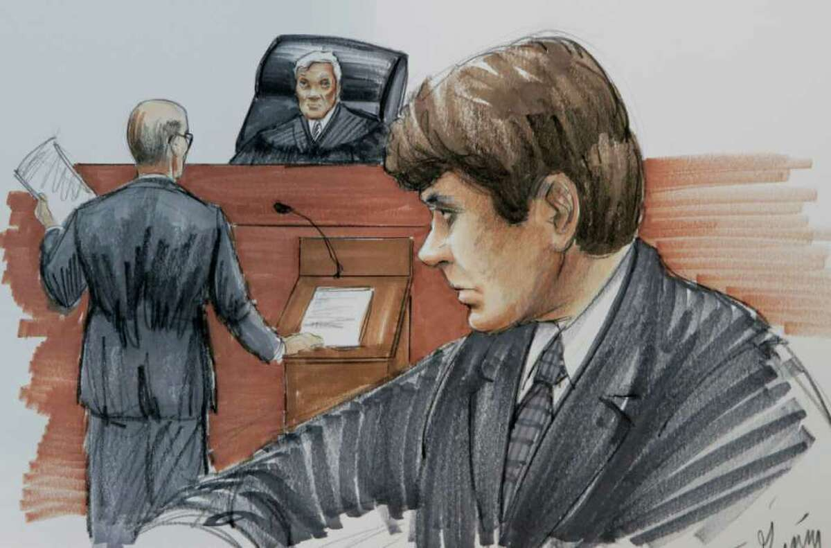 In this courtroom sketch made Monday, May 2, 2011, in Chicago, former Illinois Gov. Rod Blagojevich listens as his attorney Sheldon Sorosky, stands before U. S. District Judge James Zagel, during jury selection in the Federal Courthouse. Blagojevich who was convicted of one count of lying to the FBI in his original trial, faces 20 federal counts at his second trial, including allegations that he tried to sell or trade President Barack Obama's former Senate seat. (AP Photo/Tom Gianni)
