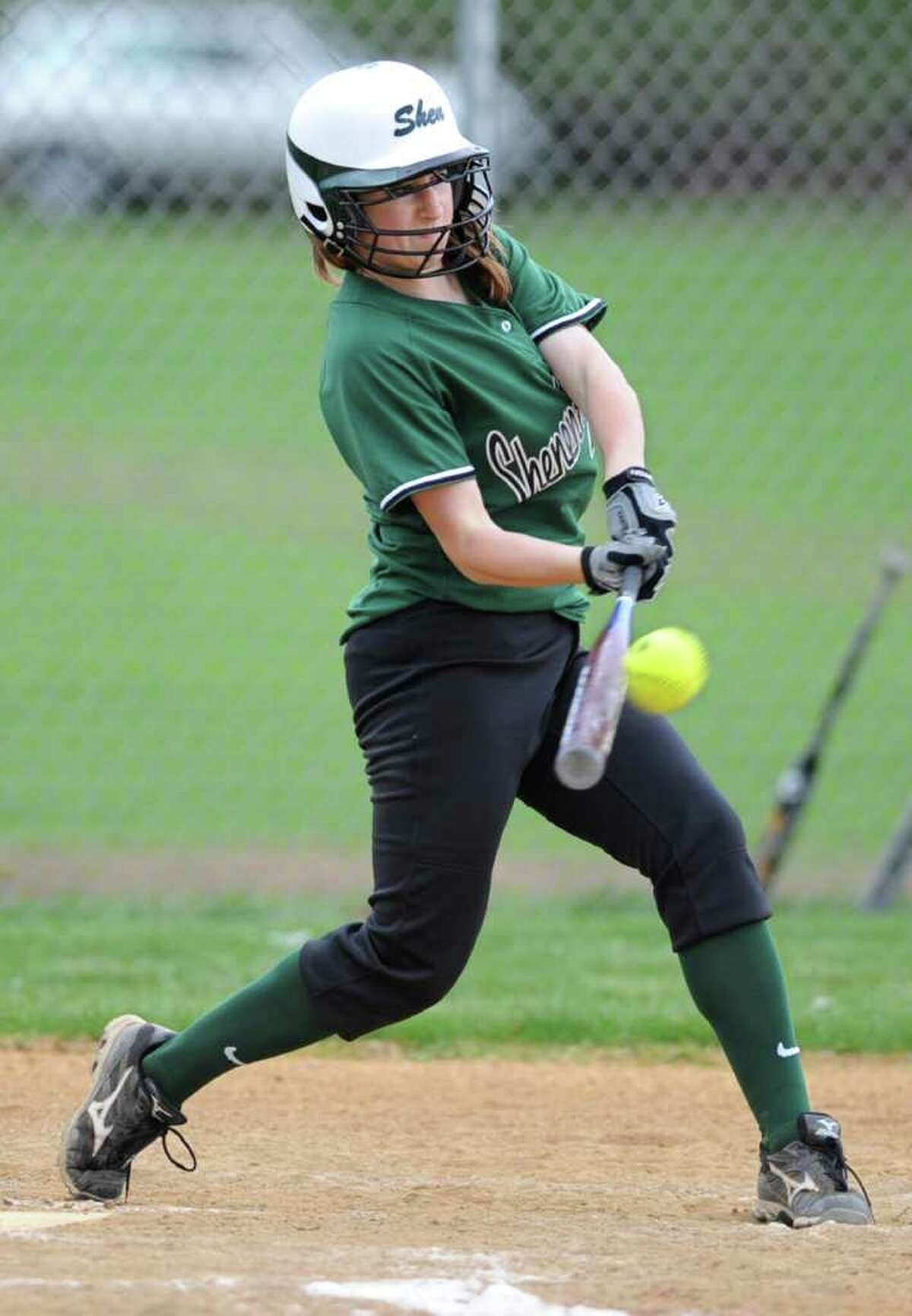 Shenendehowa's Melissa Morgan hits one over the fence for a home run during a game against Behtlehem in Clifton Park, N.Y. Monday May 2, 2011. (Lori Van Buren / Times Union)