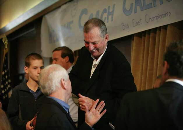 UConn men's basketball coach Jim Calhoun greets guests after his keynote speech at a celebrity breakfast at the Jewish Community Center in Bridgeport on Tuesday, May 3, 2011. Photo: Brian A. Pounds / Connecticut Post