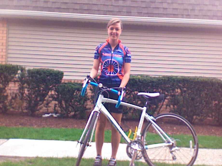 Taylor Gulley, in her Build and Bike gear, ready to go for her cross country adventure. Photo: Contributed Photo / New Canaan News